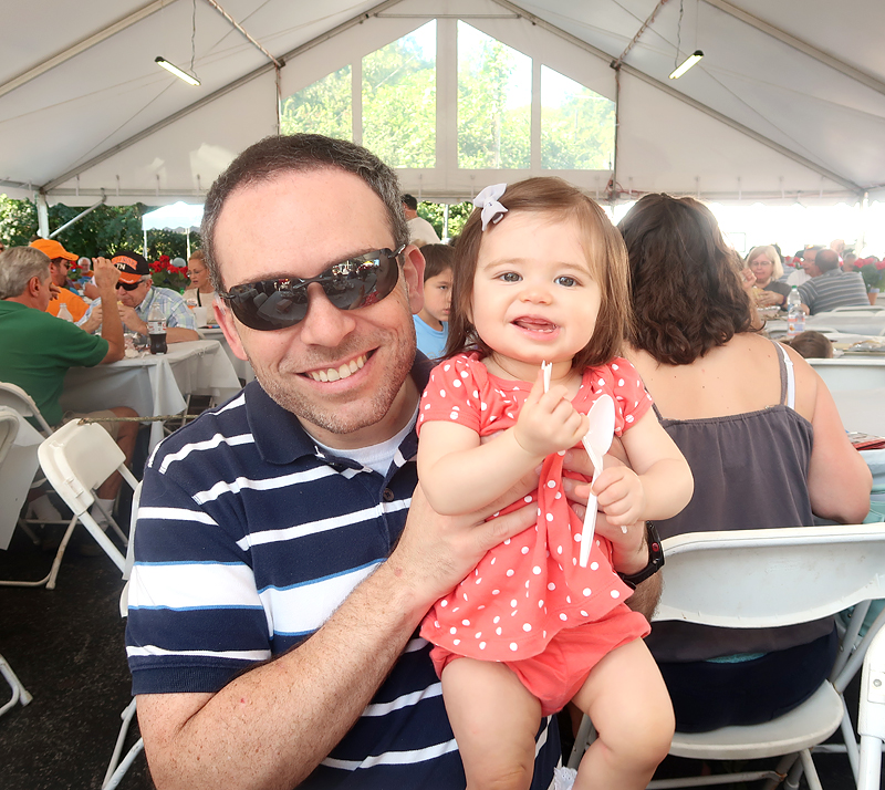 dad with baby at greek fest