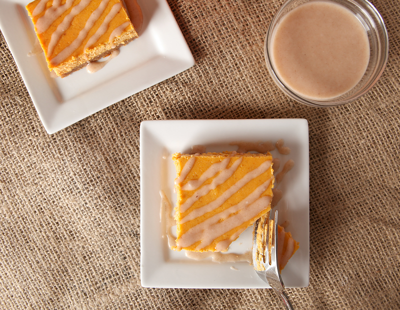 Glazed Pumpkin Pie Cheesecake bars. These. Are. Awesome.