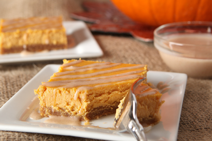 Glazed Pumpkin Cheesecake Bars