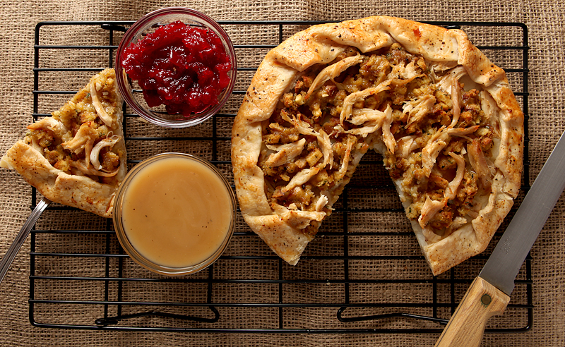 Got leftovers? Forget the turkey sandwiches and make this recipe for Thanksgiving Leftovers Galette - all you need are your leftovers and a pie crust!