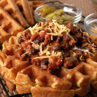 Cornbread Waffles with Thick Three Bean Chili
