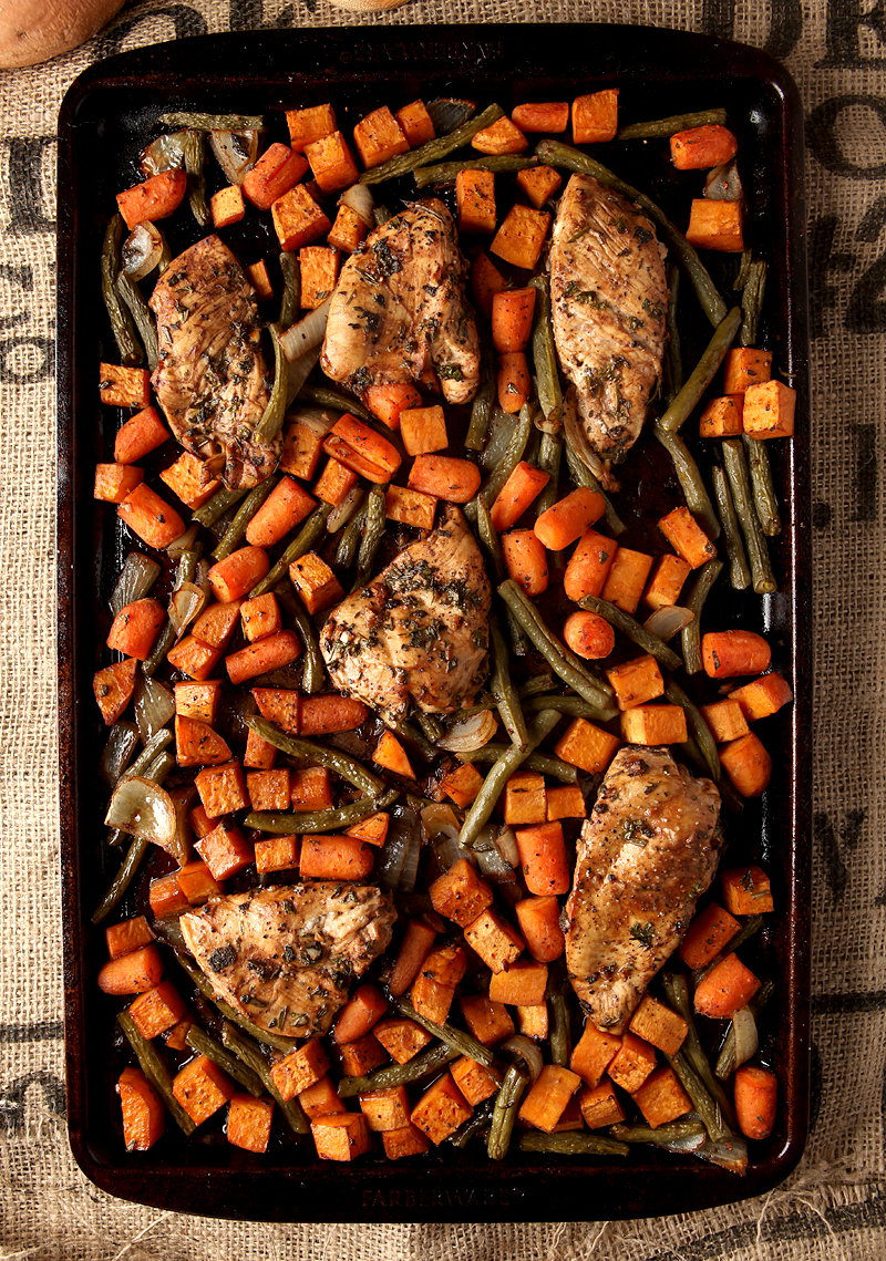 Sheet pan dinner idea - balsamic herb chicken and vegetables with fresh green beans, sweet potatoes, carrots, and onions