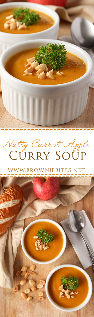 The best soup ever!! Now on permanent weekly rotation until further notice. Carrots, apples, and onions pureed in a curried broth with a stir of peanut butter added in at the end. PERFECT comfort food!