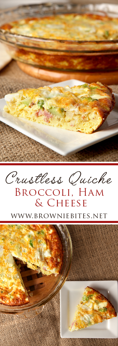 Low carb breakfast idea - crustless broccoli, ham, and cheese quiche. Full of flavor!