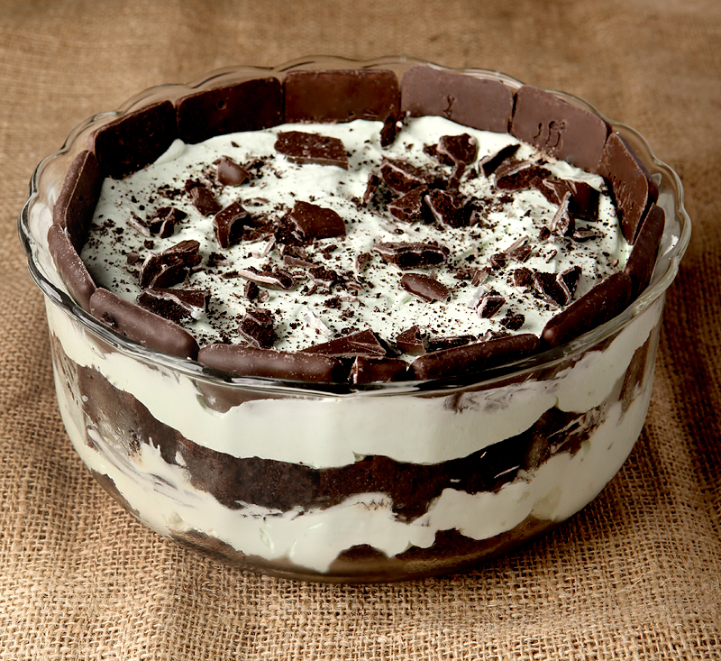 Dark Chocolate Mint Trifle - A homemade white chocolate mint mousse is layered with dark chocolate cake and chocolate mint cookies - one of my favorite easy trifles.