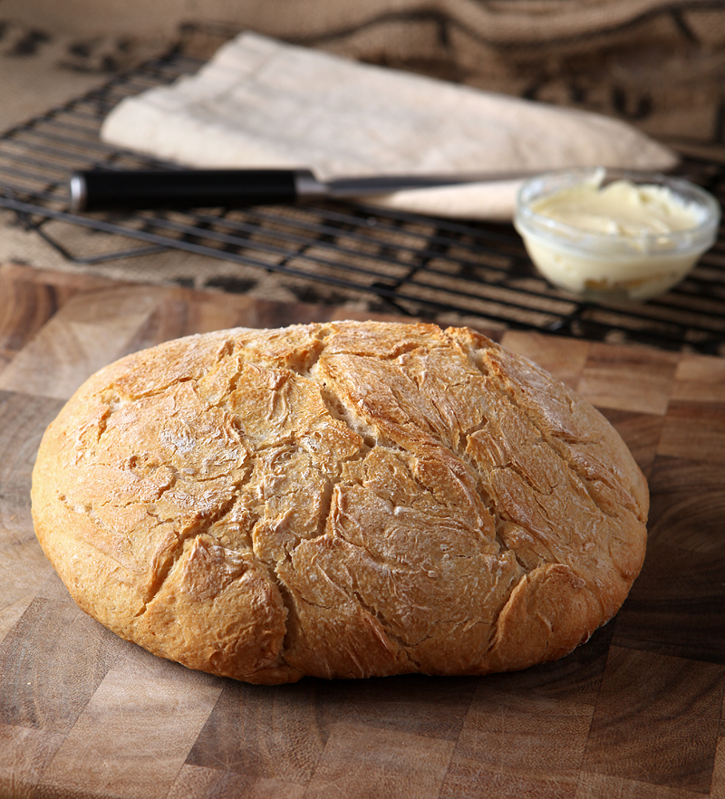 An easy no knead homemade bread with a crunchy crust and creamy homemade butter!