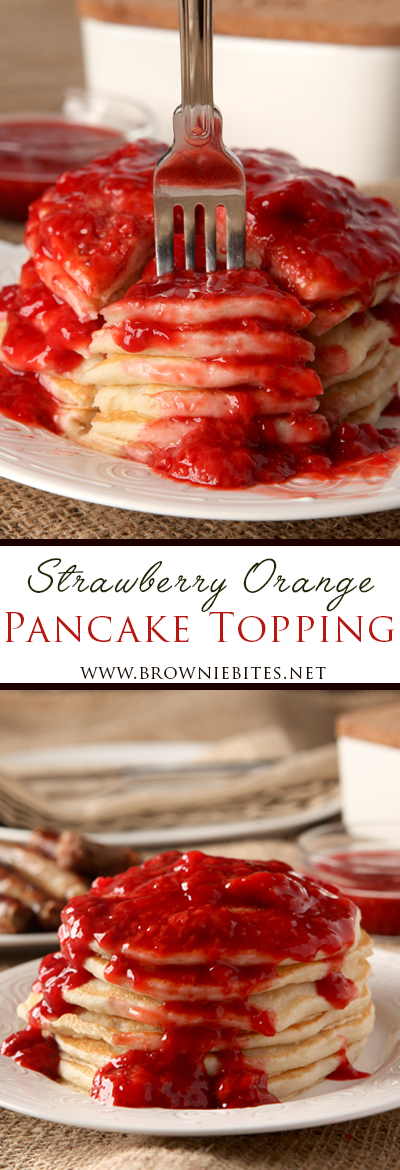 How to make an easy strawberry orange sauce for pancake topping! Would also be delicious over ice cream, waffles, or French toast!