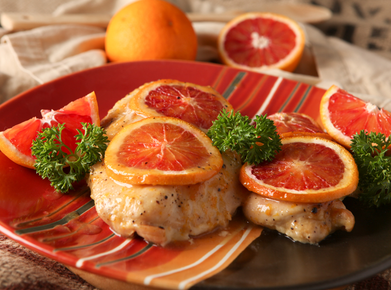 Blood Orange Glazed Chicken - a great easy dinner idea for using the beautiful citrus this time of year.