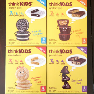 thinkKIDS protein bars come in 4 flavors - cookies and creme, peanut butter cup, cinnamon sugar cookie, and chocolate chip