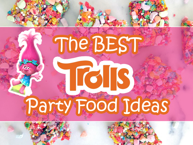Trolls Party Food Ideas! A giant list of snacks, desserts, cupcakes, cakes, cookies, snack mix, and everything else you need to throw the best Trolls party!