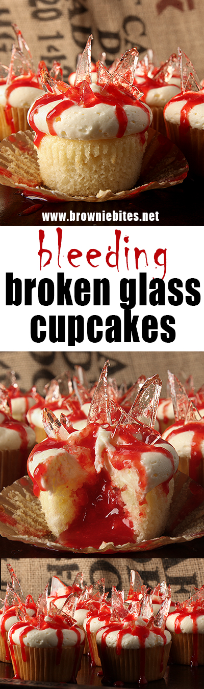 "Bleeding broken glass cupcakes for Halloween! Fluffy almond cupcakes filled with cherry pie filling, topped with almond buttercream and finished with cooked sugar ""broken glass"" and oozing blood (more cherry!)"