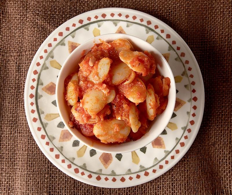 Easy Greek style baked lima beans - fast dinner idea!