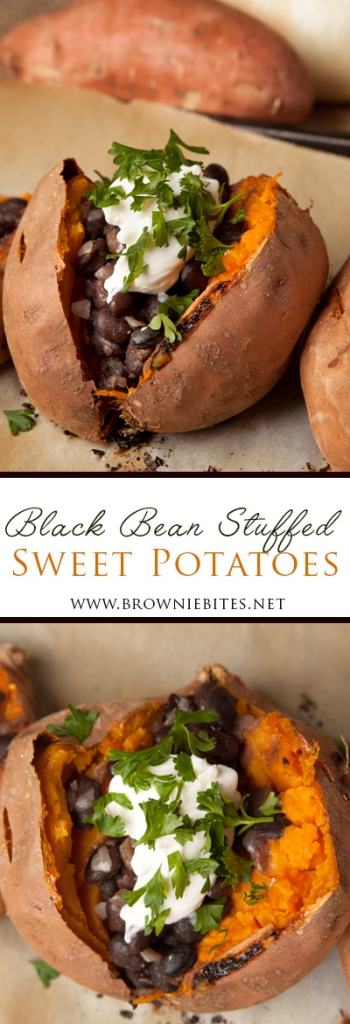 An easy and nutritious dinner idea - black bean stuffed sweet potatoes with onions and lots of flavor.