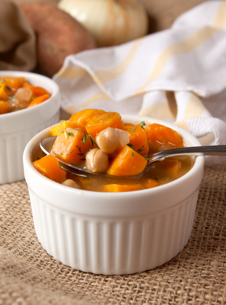This sweet potato and chickpea stew is packed with chunky vegetables and protein from the chickpeas in a flavorful broth - such a comfort meal during cold nights!