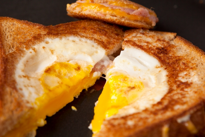 Eggs in a Basket Grilled Ham and Cheese Sandwich