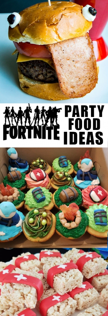 Fortnite party food ideas! Want to get some ideas for some treats to serve at a Fortnite birthday party? This is the list for you! Fortnite burgers, Fortnite med packs, Fortnite cupcakes, Fortnite cookies, Fortnite supply drops, and more!