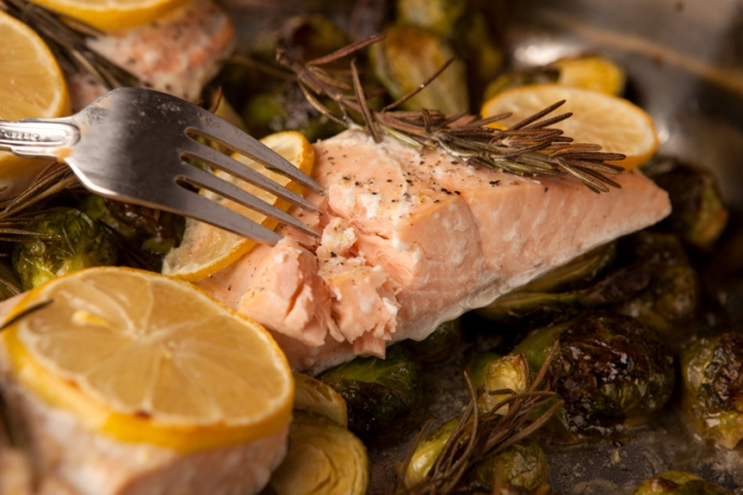 Lemon Herb Roasted Salmon and Brussels Sprouts