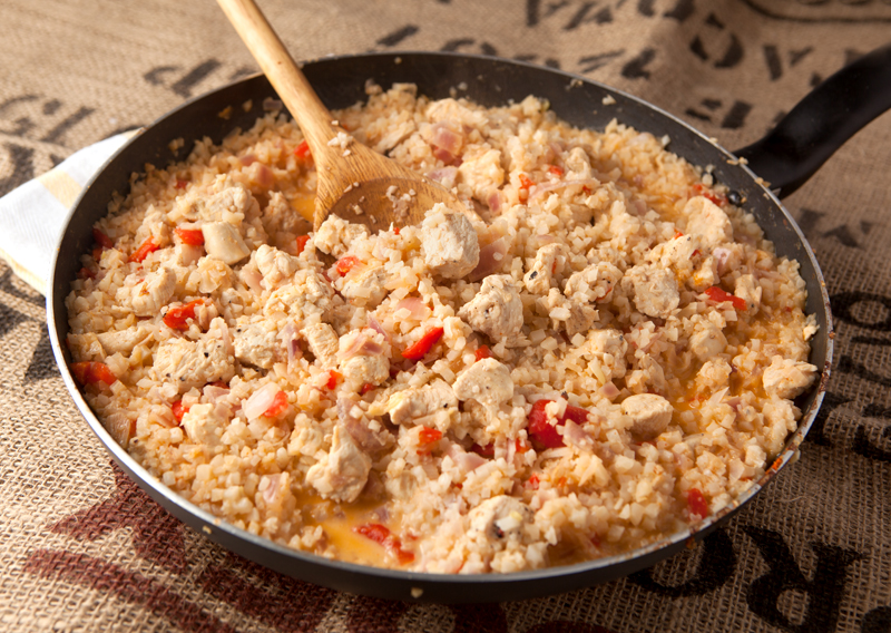 Thai Chicken Cauliflower Rice Skillet - an amazing and tasty low carb dinner idea that's totally satisfying.