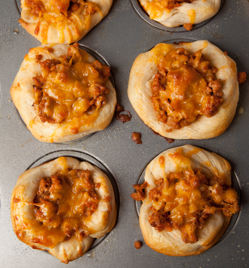 Easy Dinner Idea! Ground Turkey Cheeseburger Biscuit Cups. I used grount turkey and low-fat cheese to lighten it up, and used organic canned biscuits to make them healthier! Yum!