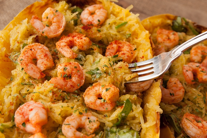 Pesto Parmesan Shrimp Stuffed Spaghetti Squash