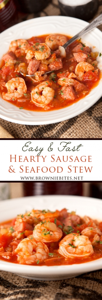 This hearty turkey sausage and seafood stew is loaded with protein and flavor and is very filling! It's easy and fast enough for a weekday dinner but special enough for a weekend meal.