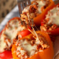 low (slow) carb ground turkey stuffed bell peppers - high protein, 30g per serving. Easy dinner idea!