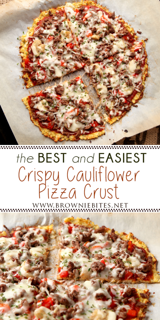 The best way to make a Cauliflower Pizza Crust! Crispy, flavorful, and EASY TO MAKE!
