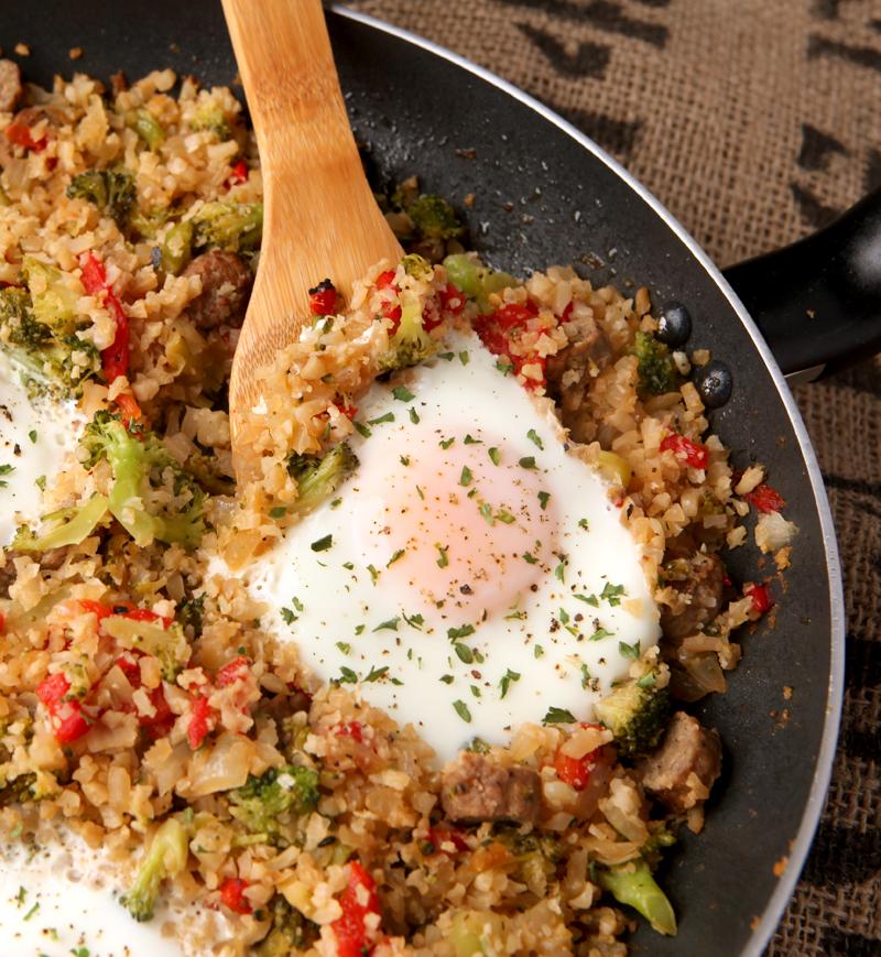 Low carb cauliflower rice breakfast bowl