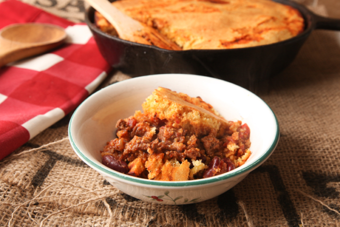 Beef and Bean Skillet Chili Topped With Cornbread