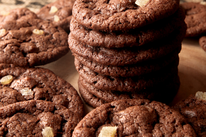 Dark Chocolate Orange and Candied Ginger Cookies