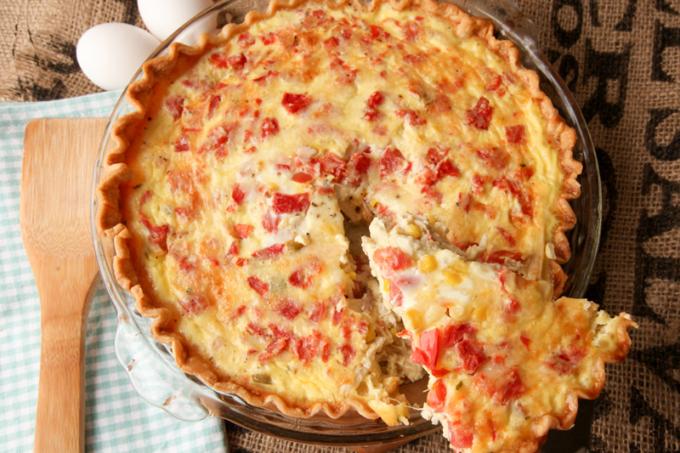 Leftover Turkey Tomato Corn Quiche