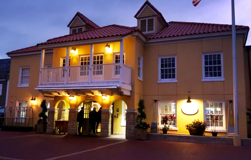 Exterior shot at night of the Hilton Bayfront Inn in St. Augustine
