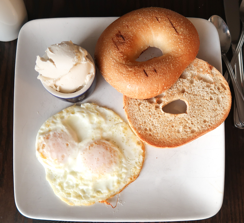 Eggs with cream cheese and a toasted bagel at Aviles Restaurant in St. Augustine