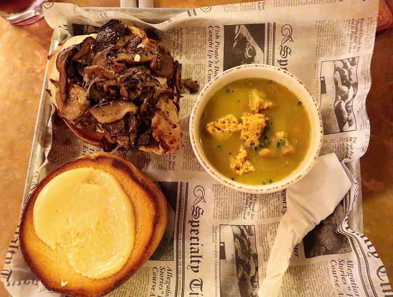 mushroom and swiss burger with split pea soup at prohibition kitchen