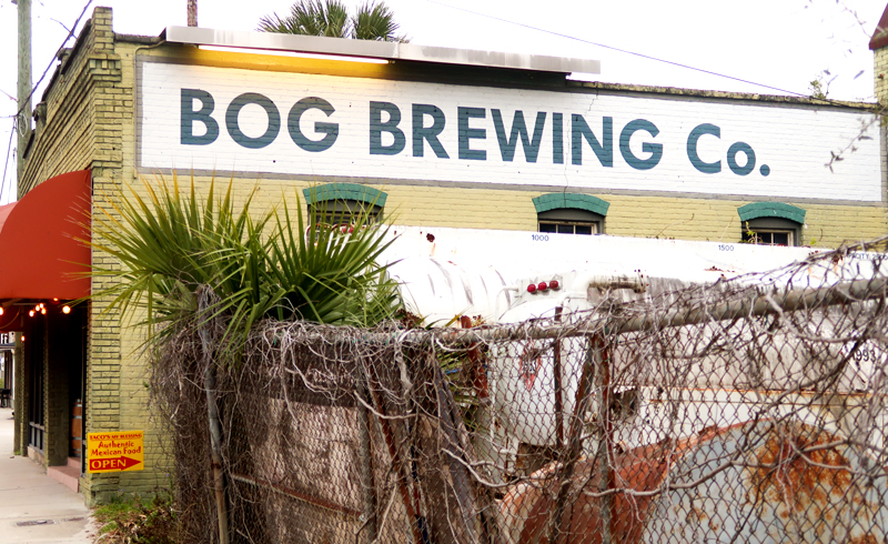Exterior shot of Bog Brewing Company building in St. Augustine