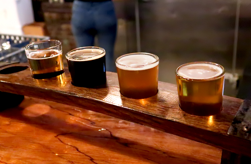 Beer flight at Bog Brewing Company in St. Augustine