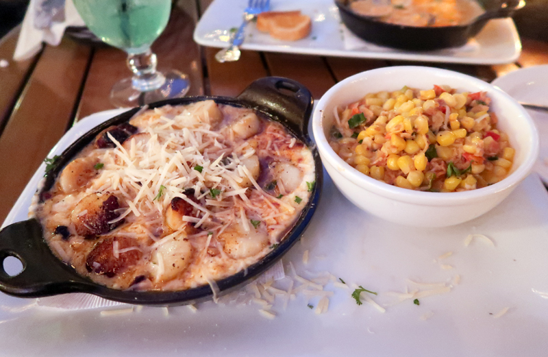 French Baked Scallops and Corn Maque Choux at Harry's in St. Augustine