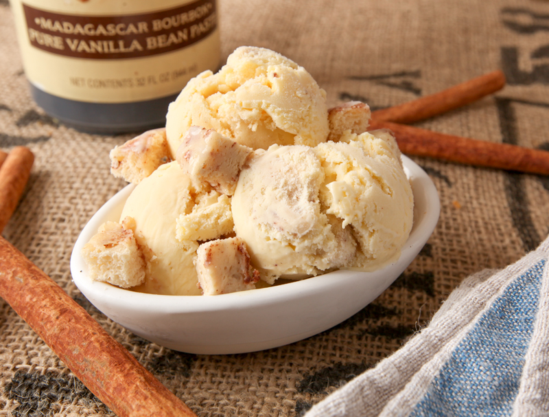 a dish of creamy homemade cinnamon roll ice cream
