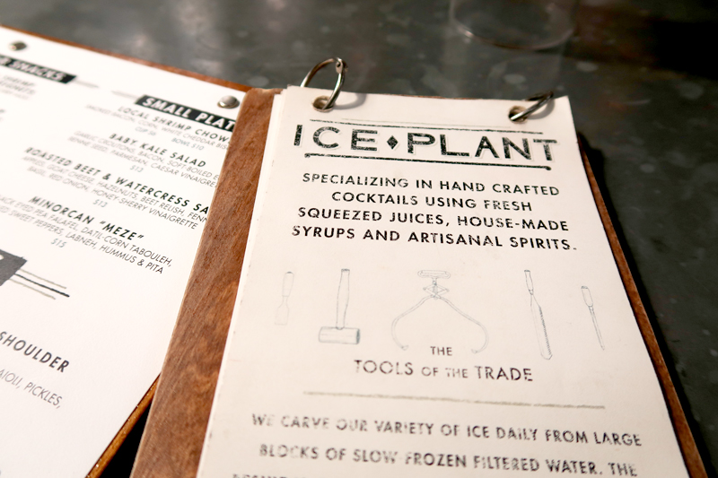 Ice plant menu in St. Augustine