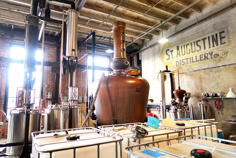 Producing bourbon at the St. Augustine Distillery
