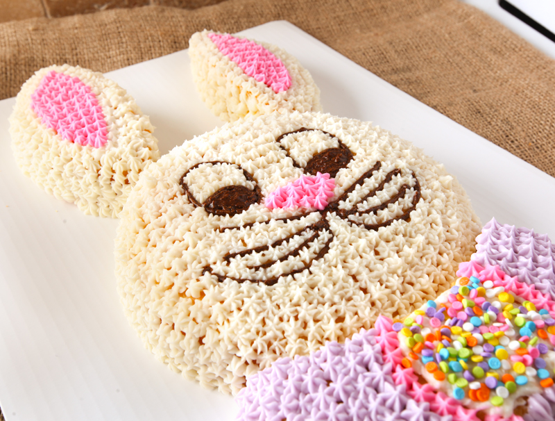 Bunny cut up cake filled in using star tip frosting