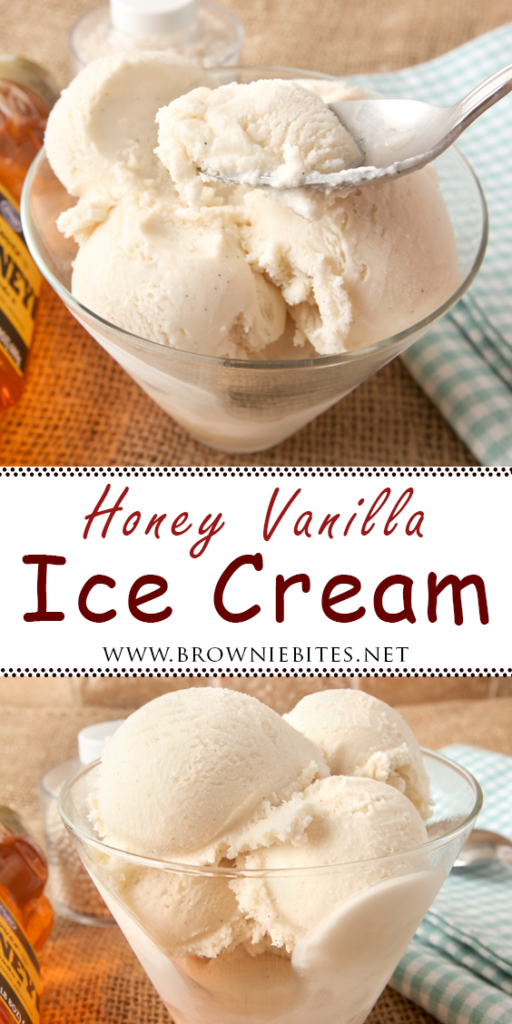 Homemade honey vanilla ice cream - deliciously creamy and no eggs required!