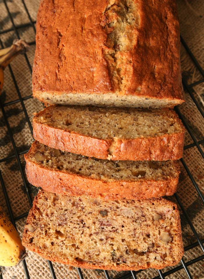 Overhead view of banana bread