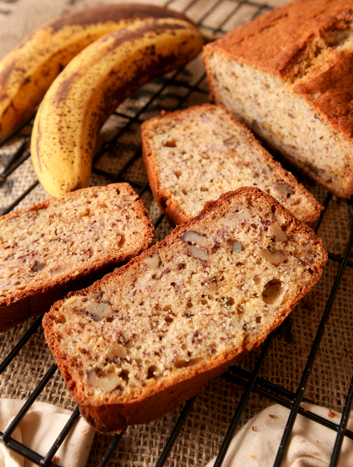 Slices of moist banana walnut bread