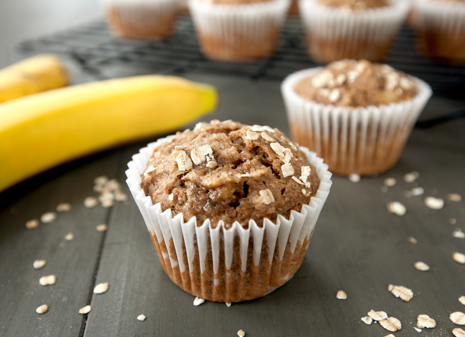 whole wheat banana oat muffins in baking paper