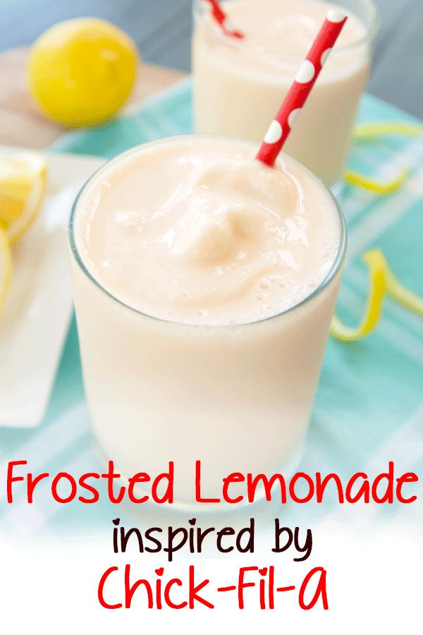 Pinterest image for chick fil a copycat frosted lemonade