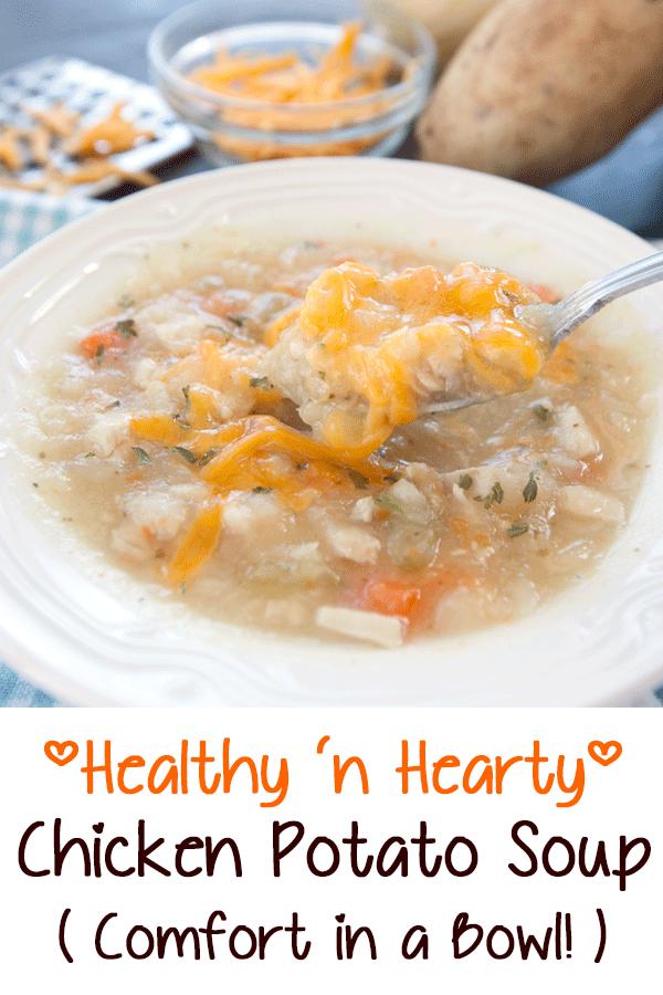 Pinterest image for a chicken potato soup recipe