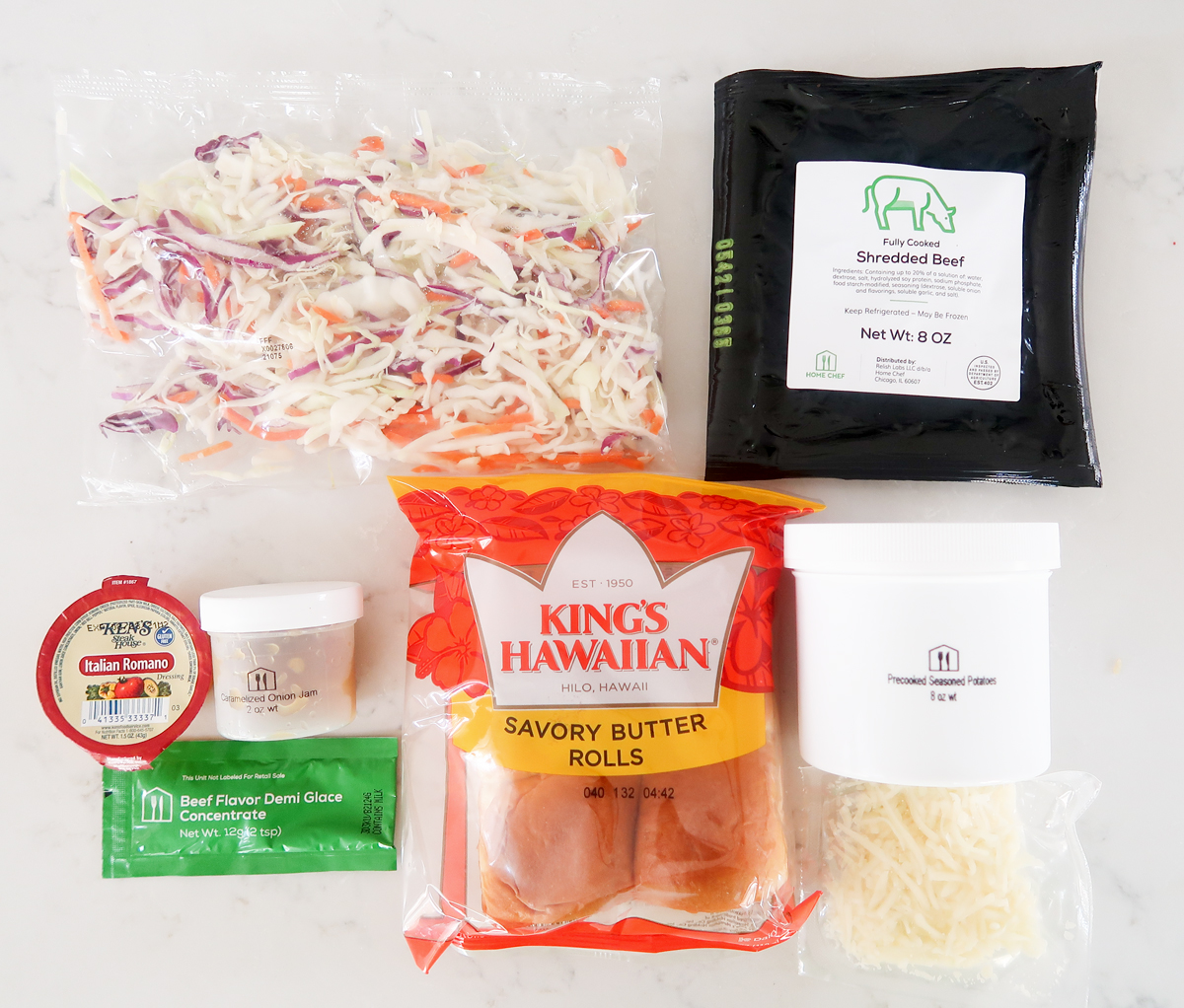 Flat lay of ingredients for french onion beef sliders
