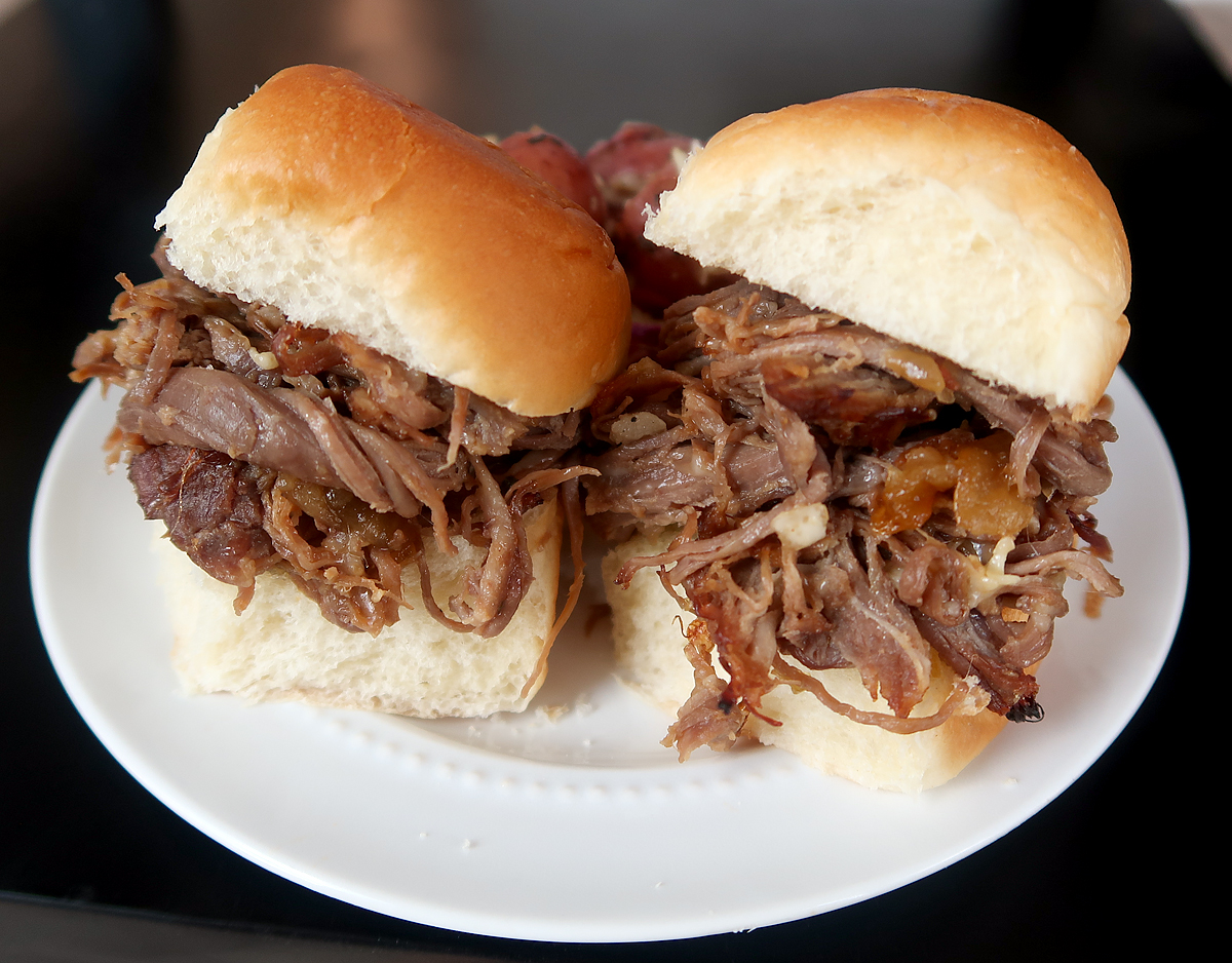 French onion beef sliders with potato slaw