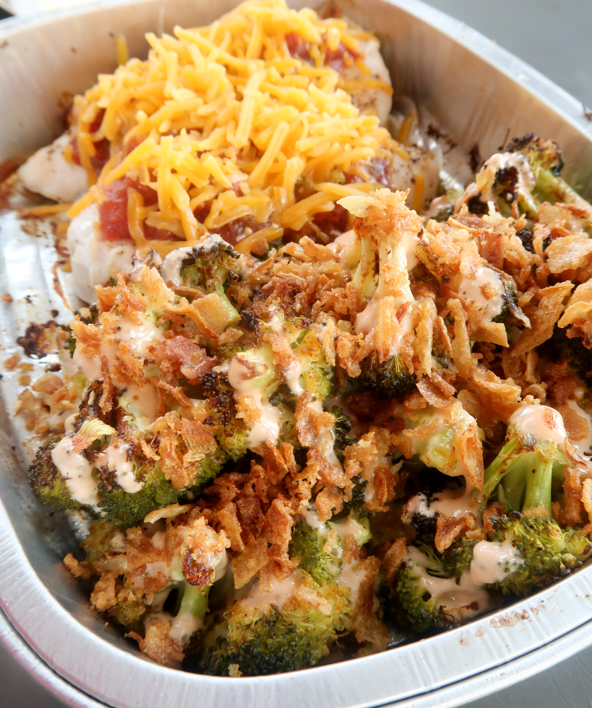 Salsa chicken with ranch roasted broccoli